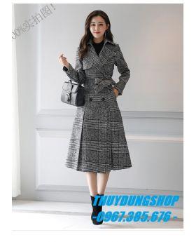 Áo khoác dạ nữ kẻ sọc GKD13