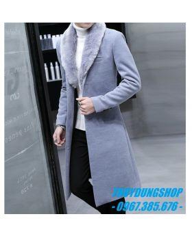 Áo khoác dạ nam dáng dài hàn quốc cổ lông NAD79